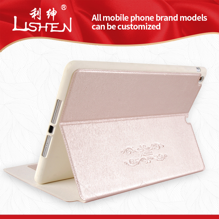 Custom Print Case for iPad Luxury Textured PU Leather Stand Cover OEM