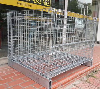 collapsible wire mesh cage industrial metallic pallet in racking system