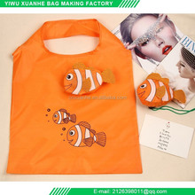 Cute animal shape reusable nylon folding orange shopping bag