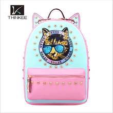 cute cat diamante high quality leather waterproof china made kids and girl school bags backpack bag