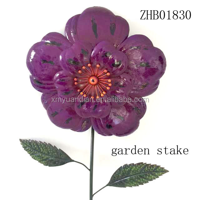 flower design metal iron garden stakes