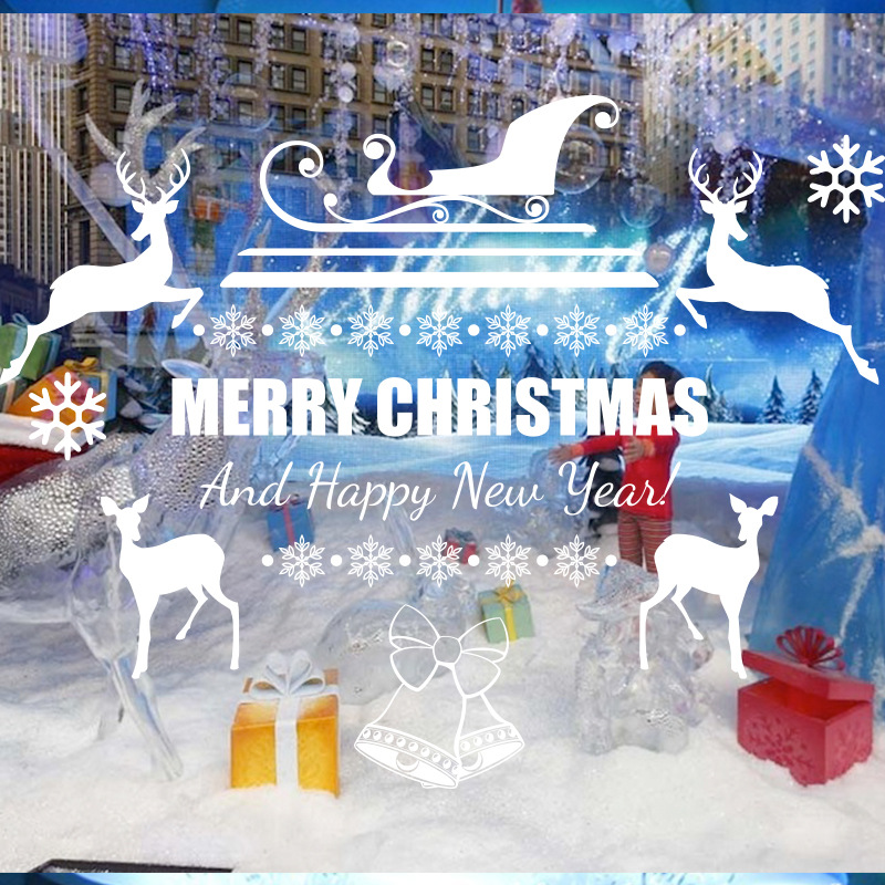Syene 3d art vinyl quote merry christmas and happy new year deer and snowflake christmas adhesive glass decal window sticker