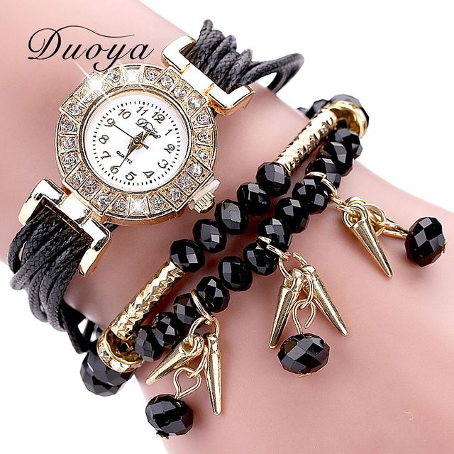 Duoya Brand Watches Women Black Luxury Crystal Bracelet Watch Fashion Women Dress Female Vintage Jewelry Quartz Wristwatch