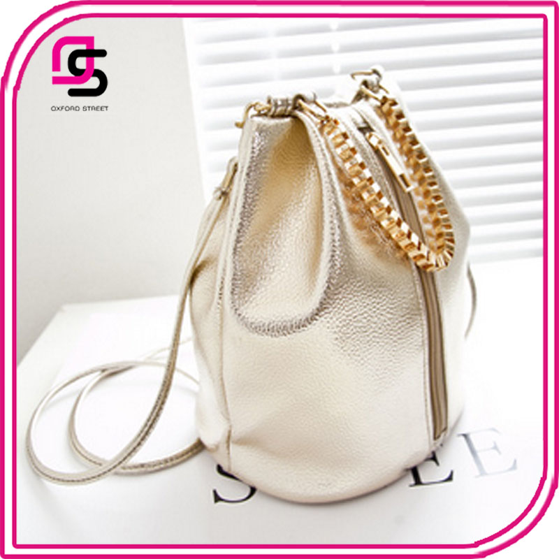 latest design pu leather woman ladies chain decorated mini bucket shoulder sling bag