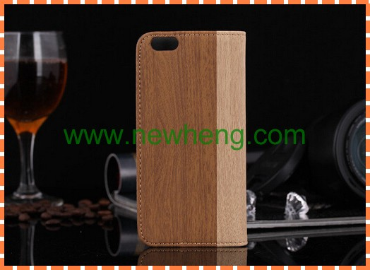 Striped Wood Bamboo Pattern Design Back Leather Case for IPhone 6