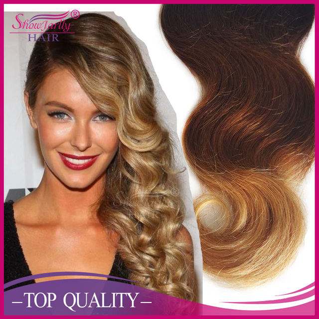 Top quality wholesale price 3 tone color ombre hair loose wave 1B 4 27 virgin human hair 3 bundles peruvian ombre hair weave