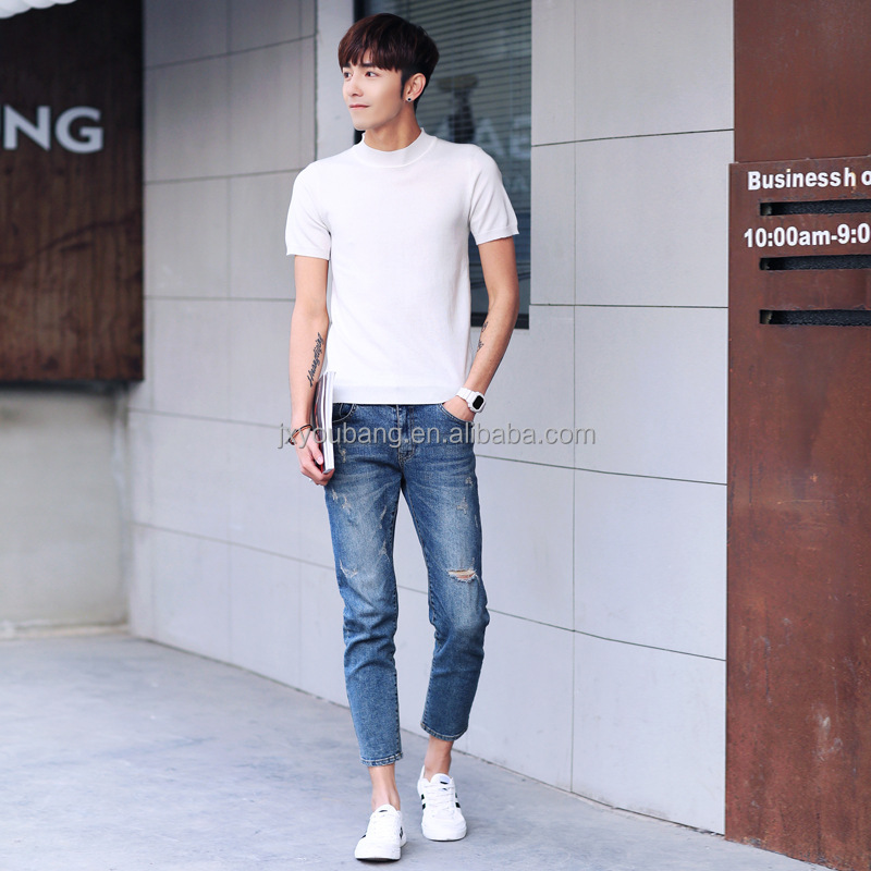 New Arrival casual style middle high neck plain color short sleeve custom fit man's knitted sweater