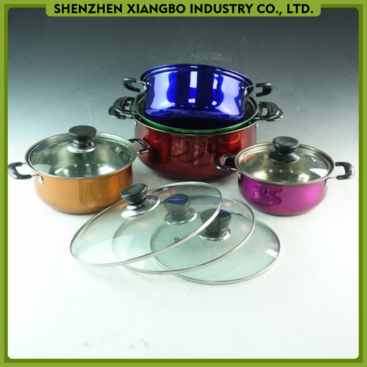 Colored stainless steel belly stock pot belly saucepot cookware with glass lid