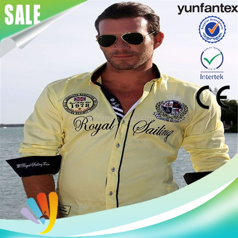 2016 latest fashion embroidered shirt for men