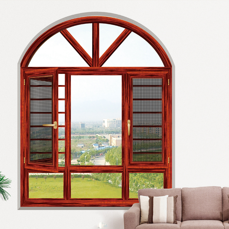 HS-JY8005 antique wood double opening arched window frame with grill design