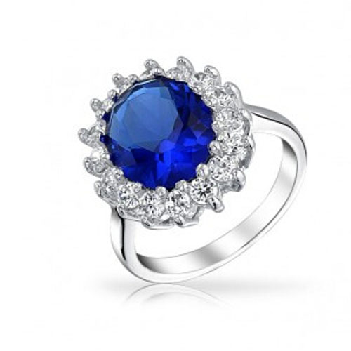 925 silver Royal Sapphire color engagement ring kate Middleton Style