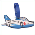 Soft PVC cartoon airplane luggage tag for tourists novelty