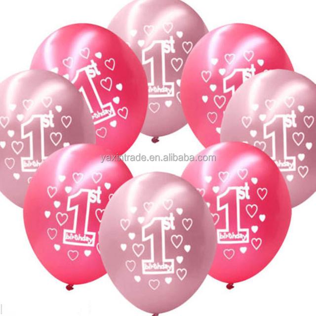 Wholesale 1st printable baby birthday latex balloons with screen printing logo ballon