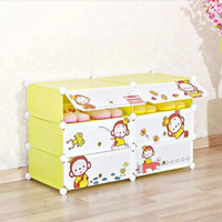 6 cubes cartoon door pink color Shoe storage cabinet with plastic material and 4mm wire frame (FH-AW0968-6)