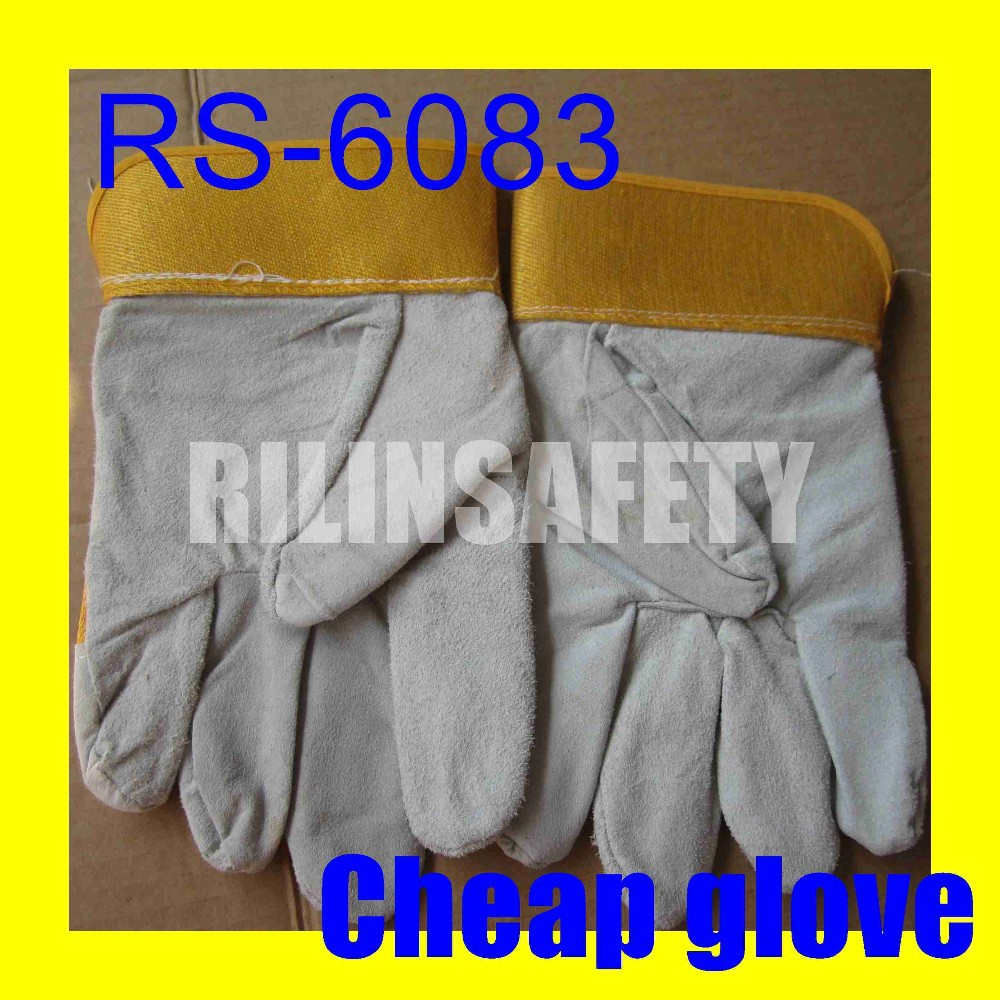 RILIN SAFETY Comfy Welding Gloves In Cow Skin ,cheap 100% rubber covered yarn\/China supplier BOW CE EN388 EN407