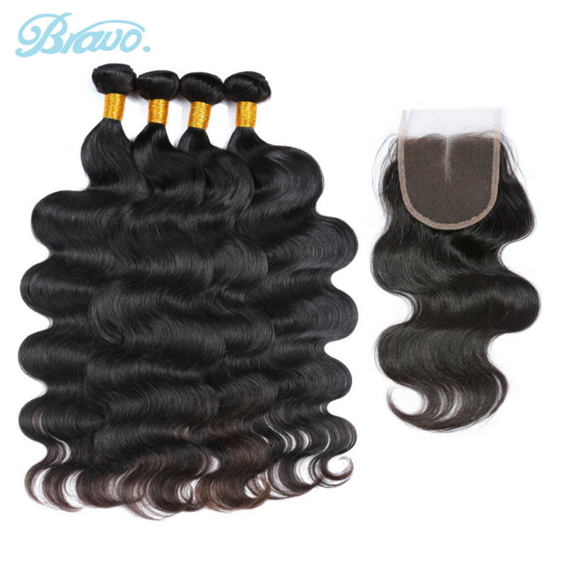 4Pcs Peruvian Virgin Hair Body Wave Human Hair Weave Bundles with one 4*4 Lace Closure 7a Grade Bravo Hair Extensions