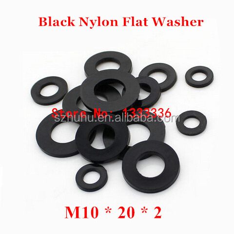 200pcs <strong>M10</strong>*20*2 Black Nylon Flat Washer / <strong>M10</strong> Plastic Insulation Plain Ring <strong>Gasket</strong>