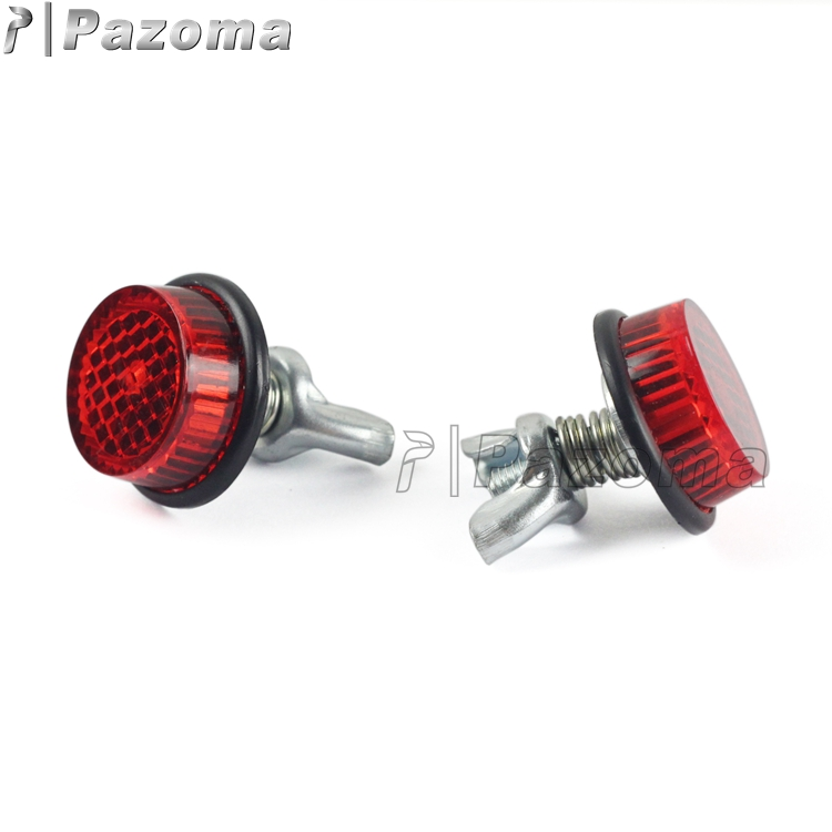 Pazoma Universal Plastic 1 Pair Red Reflector Metal Bolt Round License Plate Reflectors