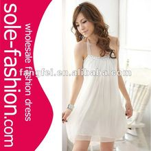 Hot sale Beaded White Fashion Chiffon halter fashion dress for party
