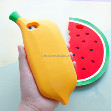 Summer 3D Cartoon Cute Fruit Banana Silicone Phone Case for Iphone 7 Silicon Rubber watermelon Case for iphone 7