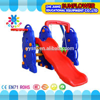 Outdoor playground elephant shape plastic slide with swing and basketry