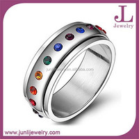 8mm LGBT Wedding Ring Stainless Steel Rainbow Color Stones Spinner Men Gay Ring
