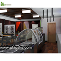 High end roll ice cream shop furniture wooden 3d ice cream kiosk and shop design