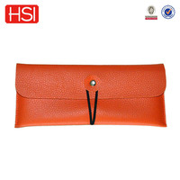 2016 new elastic bond closure brown leather pencil case for school