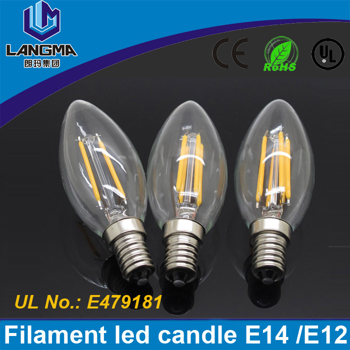 New Design E14 <strong>AC</strong> 220V 2W 4W LED Filament Candle Bulbs CRI 80 360Degree Instead of 20W 40w halogen bulb Vintage pendant lamps
