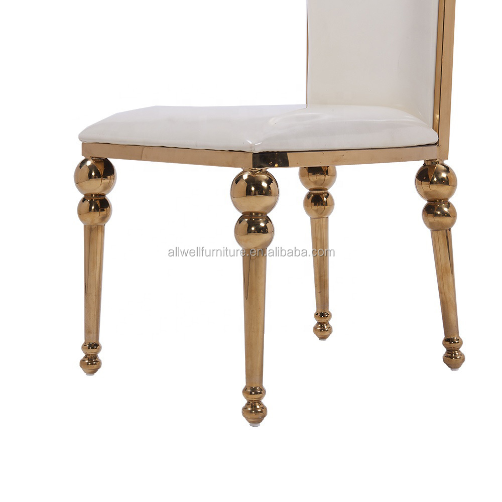 Top quality golden stainless steel wedding dining chair