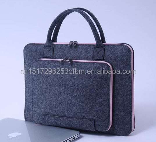 Wholesale China manufacturer fashion felt Material laptop bag with big zipper pocket