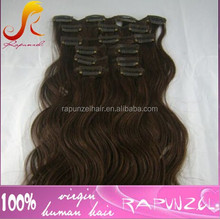 Stock body wave Indian clip on Hair extension for black women