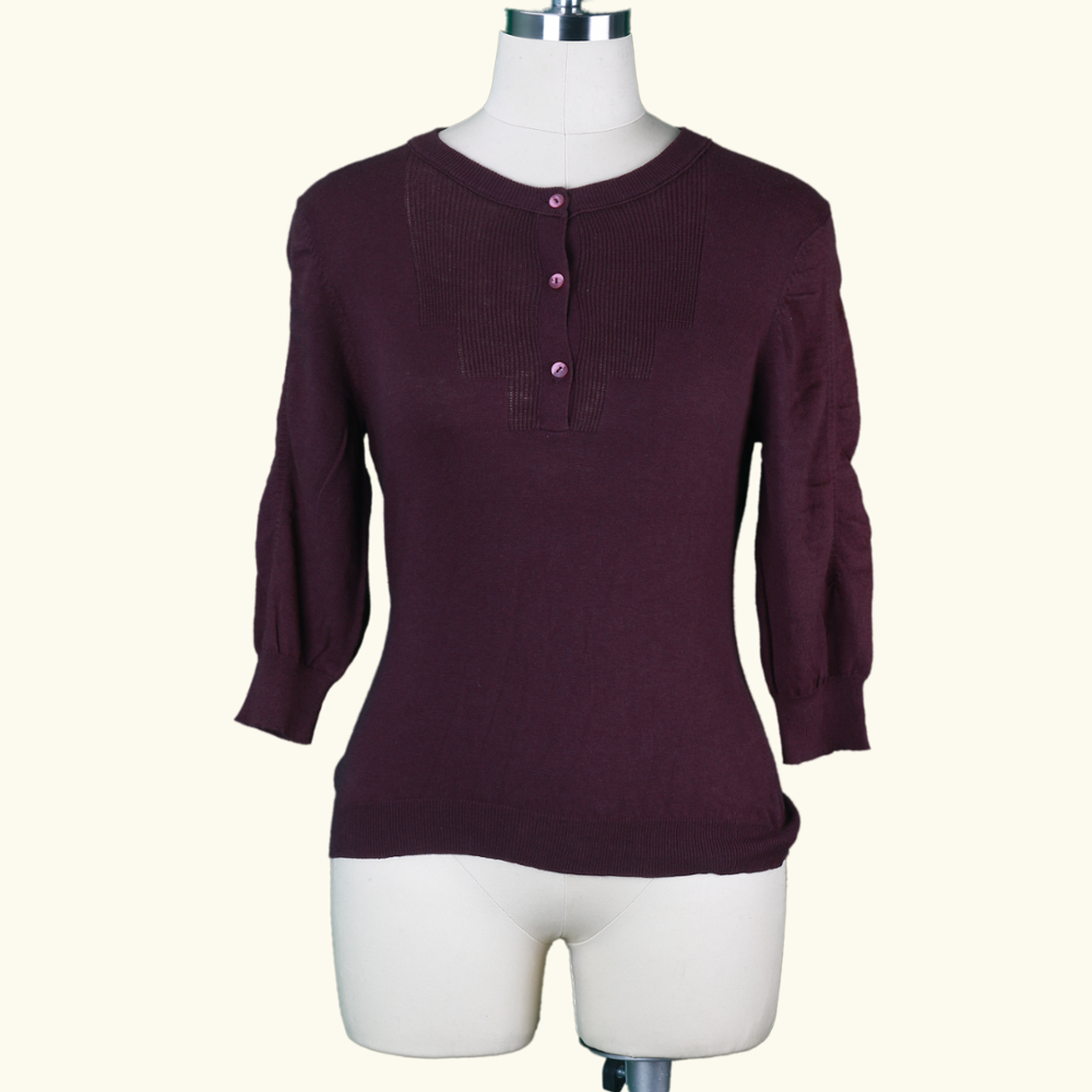 W 18 Wholesales Europe Style Lovely Beautiful Ladies Pure Cotton O Neck Solid Color Jersey Computer Knitted Sweater