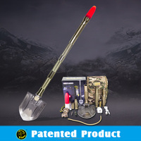 2016 Patented Multi-purpose Outdoor Tools with Shovel Hoe Knife Hammer Flash Light Fire Starter