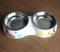 Stainless Steel Pet Bowl with double bowl