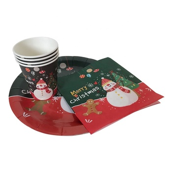 FDA LFGB SGS certified decorative disposable christmas dinner paper tableware