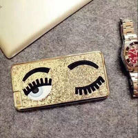 sale Glitter powder fashion chiara ferragni Bling big eyes eyelashes PC+ Plating back Cover phone case for iphone 6 in stock