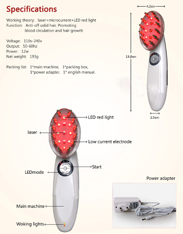 High quality Mini Laser Hair Growth Massager Comb for hair regrowth with bio EMS