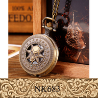 Yiwu Jewelry Factory Sell Vintage Cartoon Clock Pocket Watch Sweater Pendant Necklace