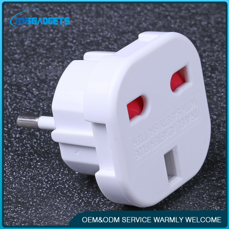 UK to EU Euro Europe AC Power Wall Plug Converter Travel Adapter