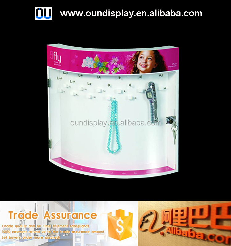 acrylic jewelry counter display lockable clearance jewelry display showcase with hook holder