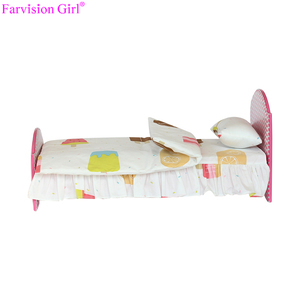 Doll furniture 18 inch doll accessories pink doll bed wholesale