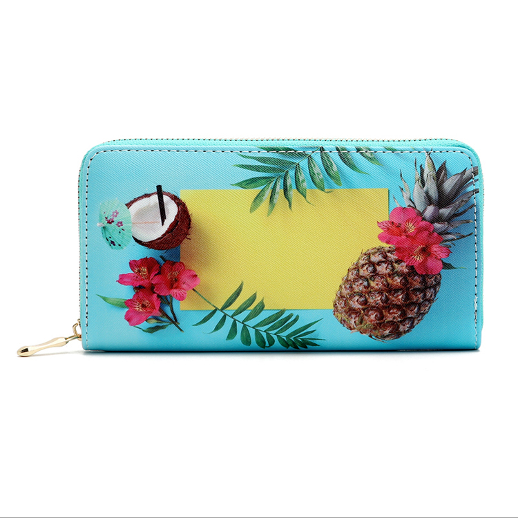 Wholesale Summer Seaside Scenery Pineapple Coconut Printed Blue PU Leather Wallet For Women