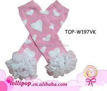 Lovely pink cotton chiffon baby leg warmers pattern with white heart for Valentine's Day