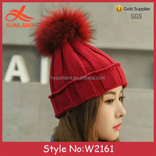 W2161 New knitted hats for women top ball winter crochet hat with string