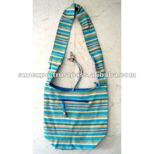 Cotton Canvas Turquoise Blue Boho Hobo Tote Hippie Indian Sling Cross Body Bag