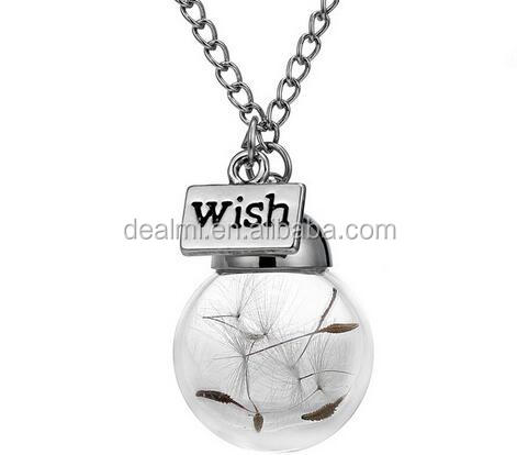 DEMI Wholesale fashion wish glass ball dandelion <strong>necklace</strong>