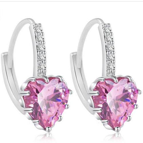 Platinum Plated Heart Stud Earring