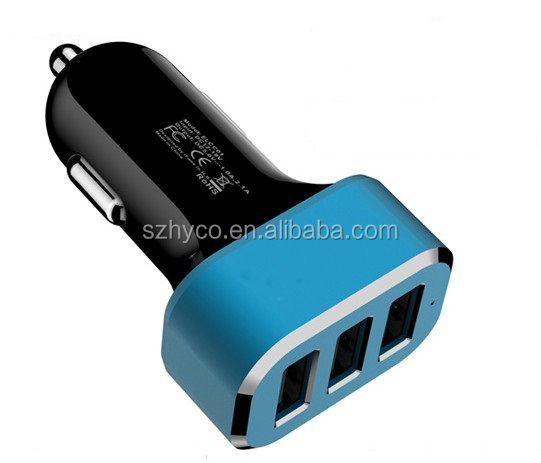 3 USB Output 6.6A Car Charger with Smart Sense IC for mobile phones