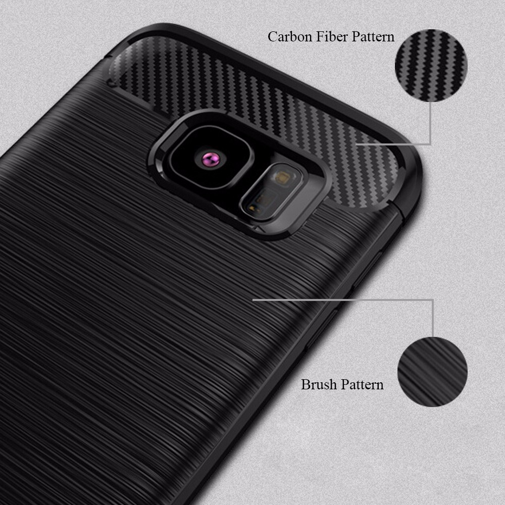 Shock Proof Carbon Fiber Brush TPU Mobile Phone Case Back Cover For Samsung Galaxy S7